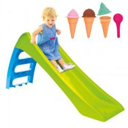 WOOPIE Zjeżdżalnia Ogrodowa dla Dzieci ze Ślizgiem Wodnym Fun Slide 116 cm Zielona + MOCHTOYS Foremki Lody do Piasku