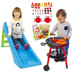 WOOPIE Zestaw Ogrodowy Zjeżdżalnia ze Ślizgiem Wodnym Fun Slide 116 cm Niebieska + Grill Ogrodowy dla Dzieci Master BBQ 32 Akc.