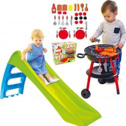 WOOPIE Zestaw Ogrodowy Zjeżdżalnia ze Ślizgiem Wodnym Fun Slide 116 cm Zielona + Grill Ogrodowy dla Dzieci Master BBQ 32 Akc.