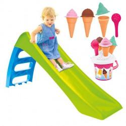 WOOPIE Zestaw Ogrodowy Zjeżdżalnia dla Dzieci ze Ślizgiem Wodnym Fun Slide 116 cm + GRATIS Foremki Lody Wiaderko do Piasku
