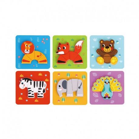 TOOKY TOY Drewniane Puzzle 6w1 Zwierzęta