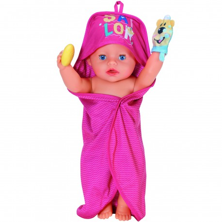 BABY born Zestaw ręczników kąpielowych z kapturem Zestaw kąpielowy dla lalek
