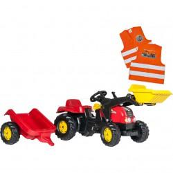 Traktor na Pedały z Łyżką i Przyczepą - Rolly Toys rollyKid 2-5 Lat + Kamizelka Odblaskowa dla Dzieci Gratis