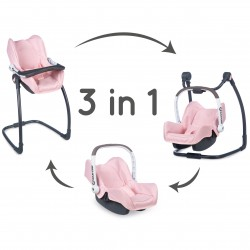 Smoby Krzesełko do karmienia Maxi Cosy Quinny 3w1 dla lalki Nosidełko Bujak